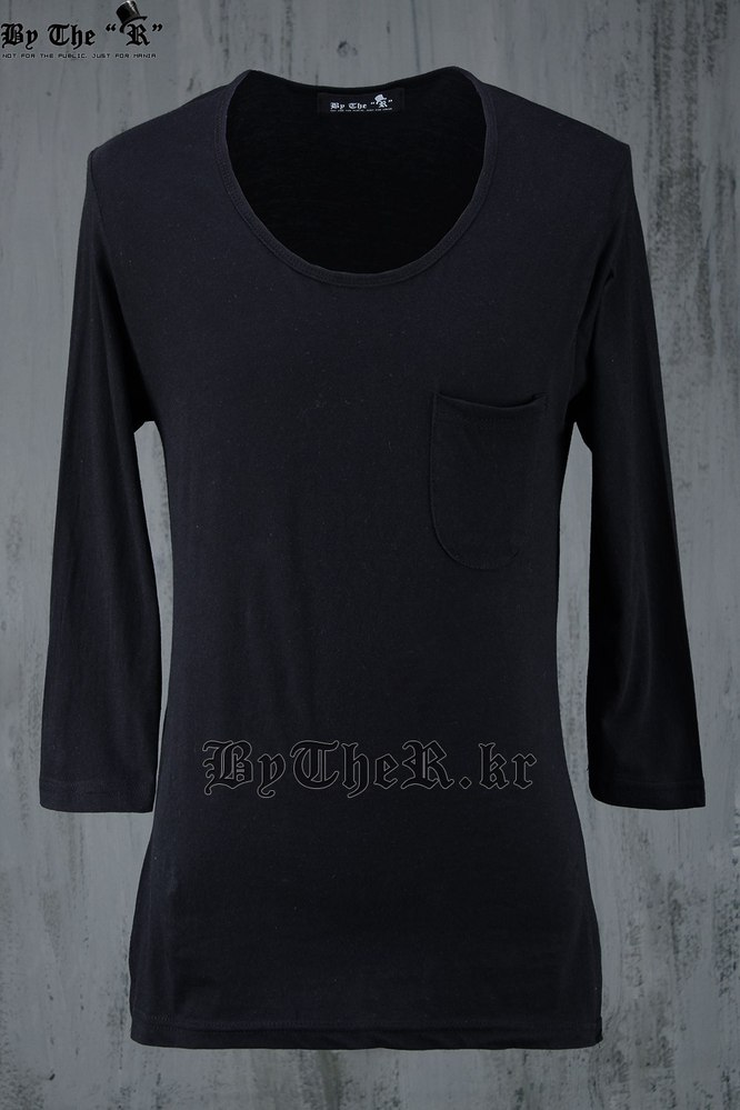 ByTheR Grunge Washing 3/4 Sleeves U-Neck T-Shirts