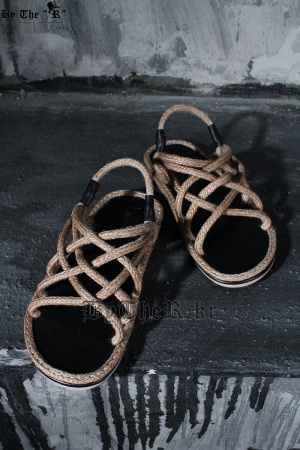 Criss Cross Brown Straw Rope Sandal Slippers