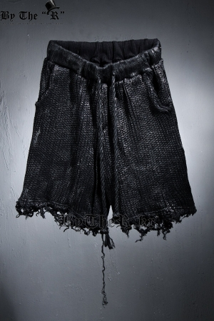 ByTheR Black Coated Damaged Knit Loose Fit Shorts