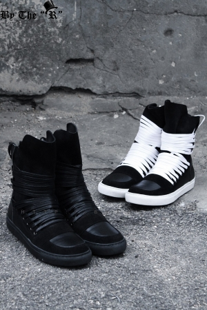 Multi Lace Leather High Top Sneakers