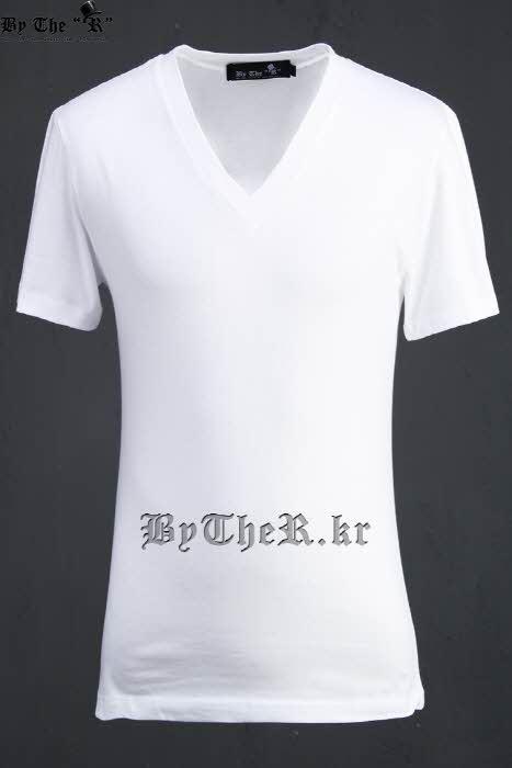 ByTheR Basic Casual Style Single V-Neck Slim Fit Short Sleeve T-Shirt