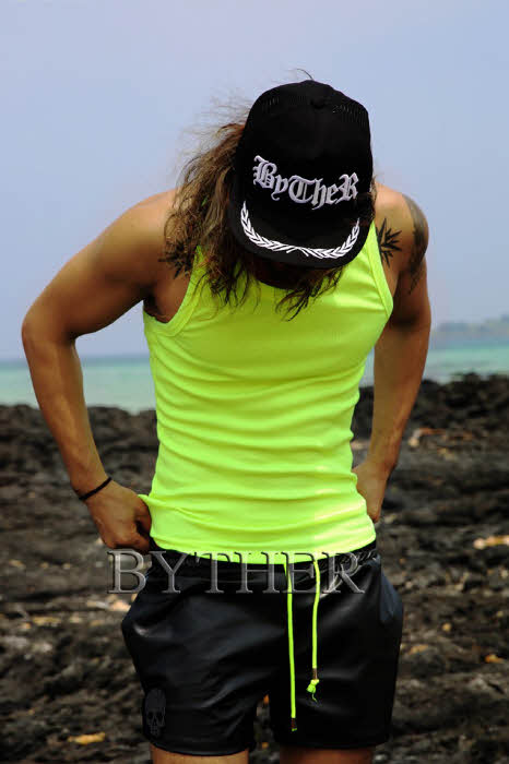 Basic Neon Corduroy Pattern Tank Top