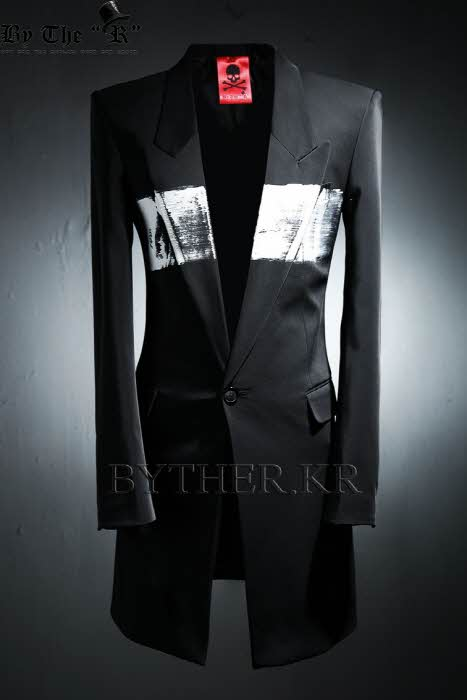 ByTheR Custom Center Painting Slim Long Blazer