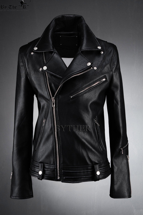 Embossing Detail Chic Black Faux Leather Made Basic Rider Jacket