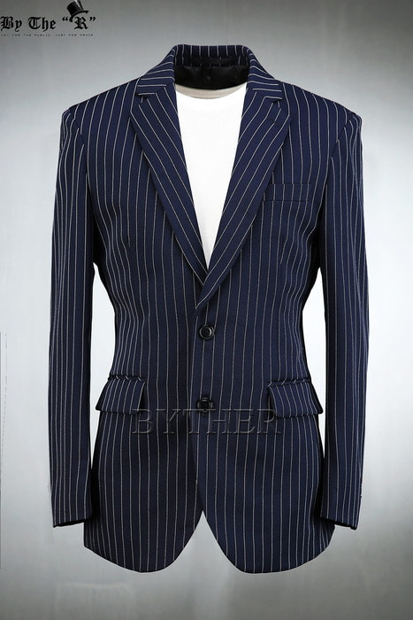 Navy Pinstripe two Button Jacket