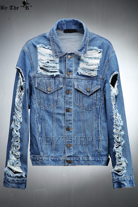 Vintage Damaged Sleeve Jean Jacket