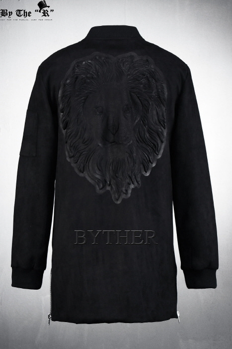 Lion Embossed Side Zipper Jacket
