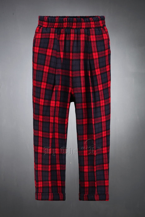 ByTheR Check Woolen Banding Slacks