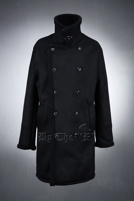 Double Button Line Black Shearling Overcoat