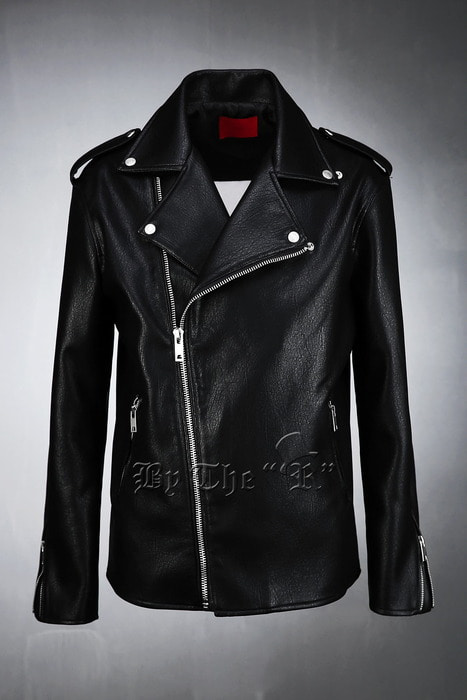 Epaulet Detailed Washed Faux Leather Rider Jacket