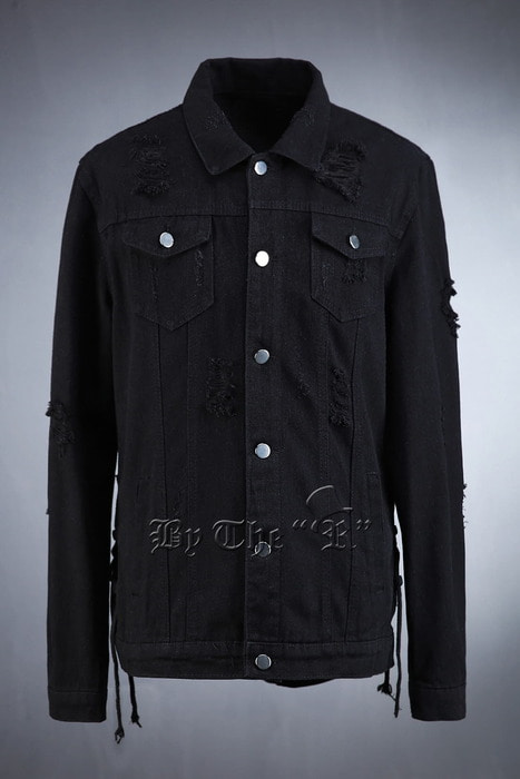 Side String Vintage Black Denim Jacket