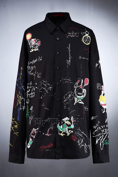 Color Doodle Printing Loose Shirt