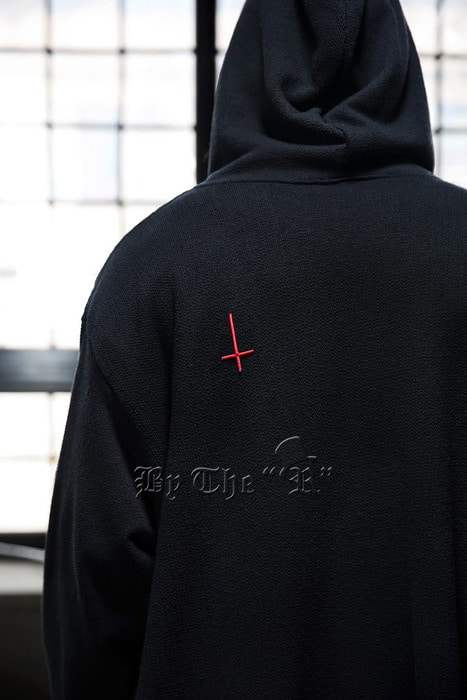 ProjectR Red Cross Embroidery Zip-up Hoodie
