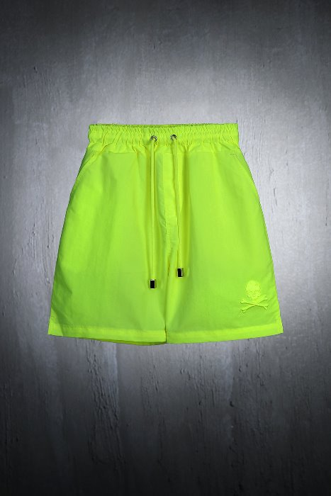ByTheR Kids Skull Embedded Neon Lime Beach Shorts