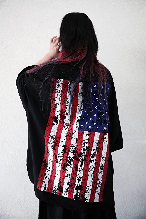 Vintage Flag Oversized Baggy Short Sleeve Tee