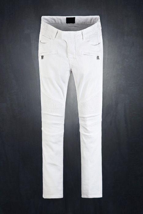 White Skinny Biker Pants