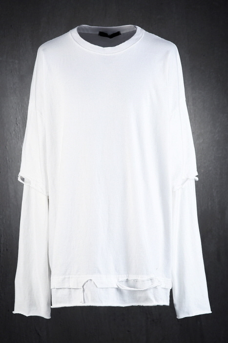 Damaged Short Sleeve Layered Loose Fit T-Shirt