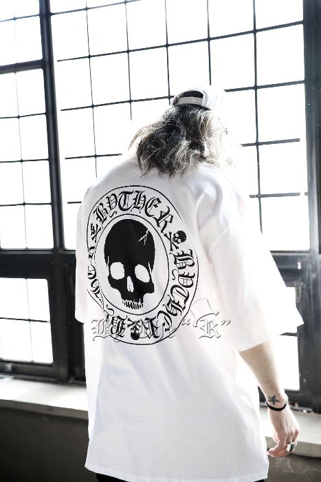 ByTheR Skull Logo Embossed Loose Fit Short Sleeve Tee White