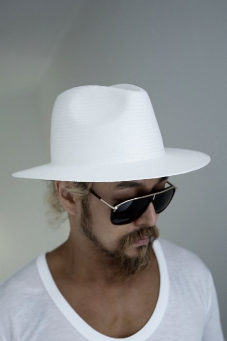ByTheR Classic Cross Stripe White Paper Fedora Hat