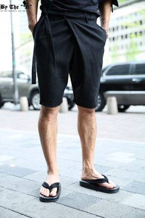 ByTheR Urban Dandy Casual Diagonal Belt Line Linen Shorts