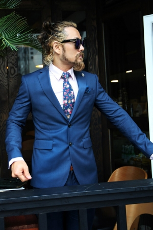 Marine Boutonnier Blue Two Button Jacket