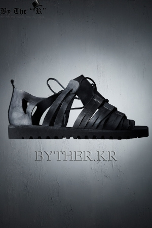 Modern Classic Ancient Greek Style Black Leather Sandals