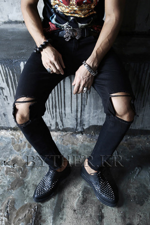 Ankle Cut Crush Destroyed Denim Black Slim Jean