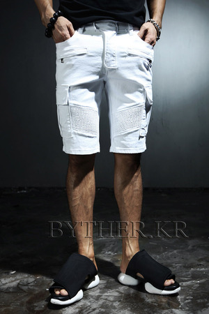 Wild Casual Thick Diagonal Durable Denim Cargo Shorts