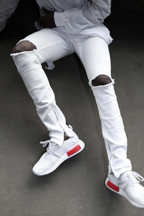 Inner Ankle Zip Line White Denim Color Knee Ripped Skinny Jeans