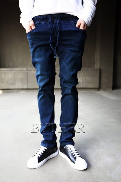 Color Washing Banding Skinny Jean