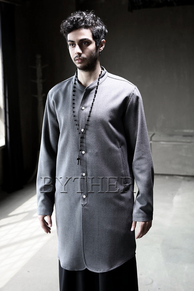 Monotone Non-collar Long Shirts