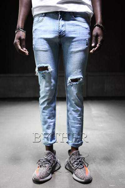Open Damage Washing Skinny Jean