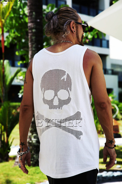 ByTheR Decorated Back Skull Cotton Mesh Made Sleeveless Shirt