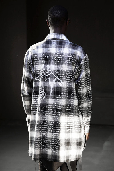 Pray Skull Check Long Shirts