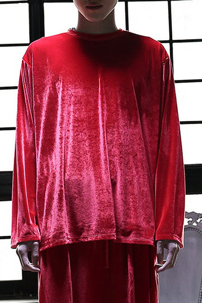 Loose-fit Solid Velvet T-shirt