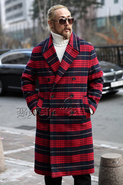 Classic Colored Check Double Button Coat