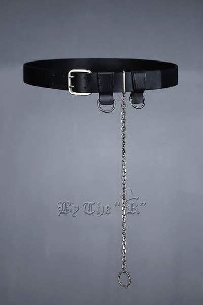 Ring Chain Cowhide Leather Belt