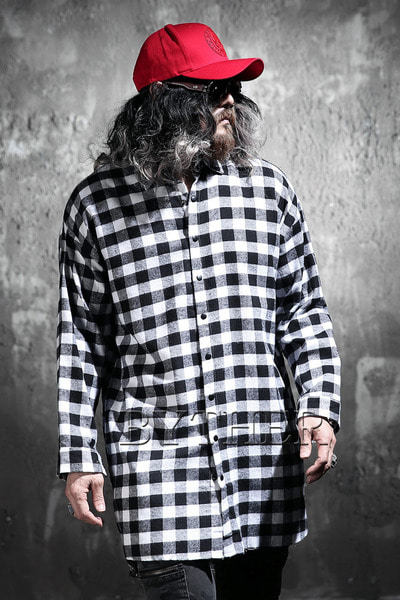 Gingham Check Snap Long Shirt