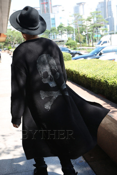ByTheR Custom Back Skull Paint Long Cardigan