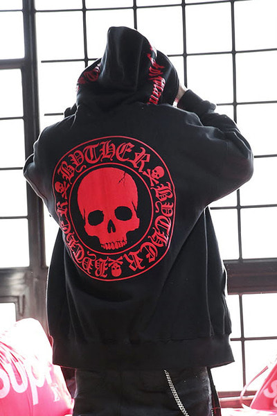 ByTheR Red Skull Logo Embossed Hoodie Zip-up