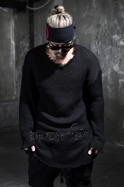 ByTheR Loose-fit Damaged Knit Tee