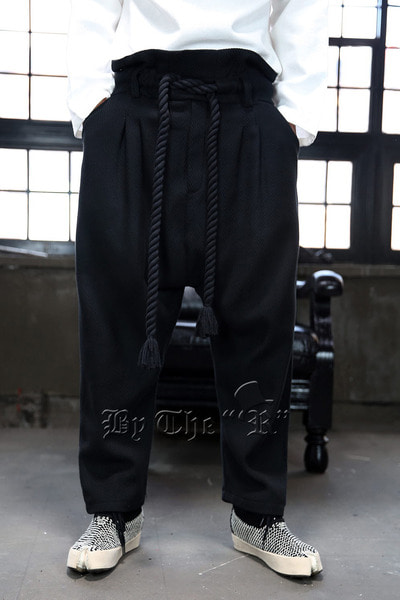 ByTheR Moire Rope Belted Baggy Pants