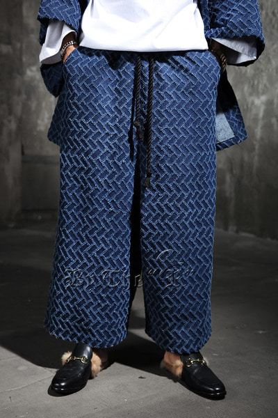 ByTheR Cross Brick Wide Denim Pants