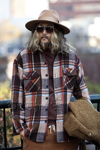 Colorful Woolen Check Shirt Jacket