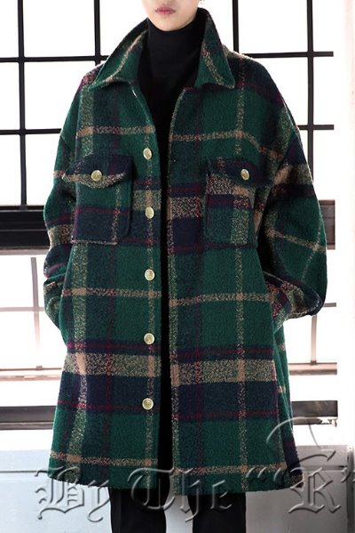 Woolen Check Loose Fit Shirt Coat