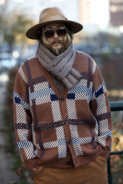 Check Jacquard Knit Cardigan