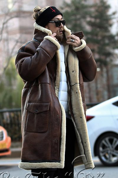 Snap Front Shearling Overcoat