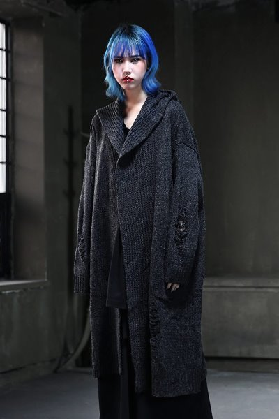 Damage hood knit long cardigan