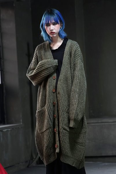 Oversize knit long cardigan