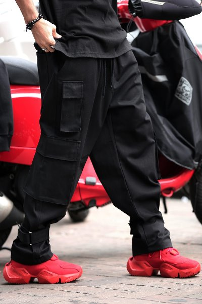 Velcro Wide Cargo Cotton Pants